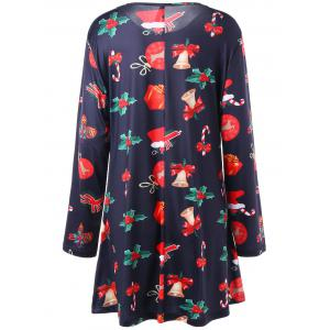 Christmas Plus Size Print Long Sleeve Dress -