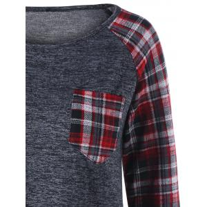 Plaid Patch Pocket Raglan Sleeve Top -