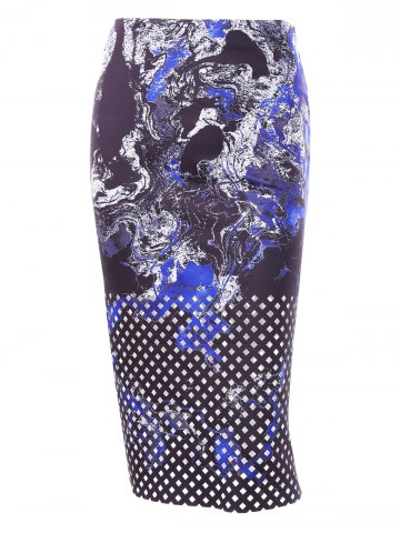 Hot Zipper Midi Print Skirt