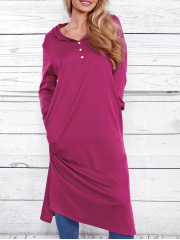 Discount Casual Side Ruched Hooded Dress