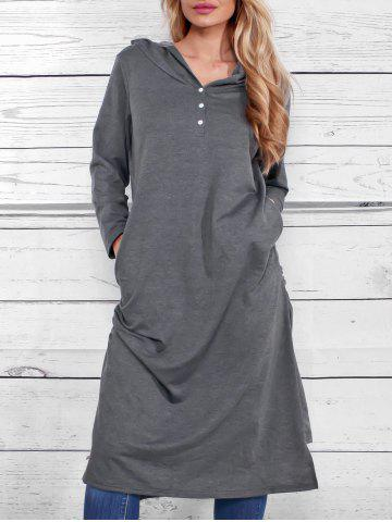 Casual Side Ruched Hooded Dress