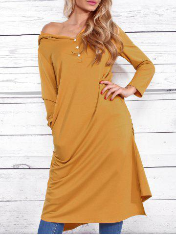 Buy Casual Side Ruched Hooded Dress