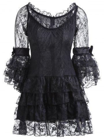 Discount Vintage Corset Top and Sheer Voile Dress BLACK S