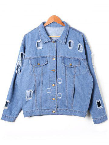 Latest Flap Pockets Holes Denim Jacket - 2XL DENIM BLUE Mobile