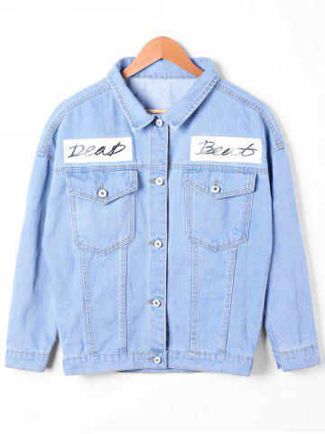 New Flap Pockets Faded Jean Jacket DENIM BLUE L