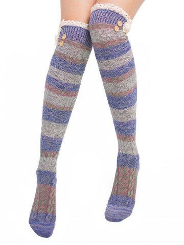 Chic Pair of Button Decorated Lace Edge Knee Highs Socks VIOLET BLUE