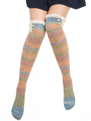 Trendy Pair of Button Decorated Lace Edge Knee Highs Socks - LAKE BLUE  Mobile