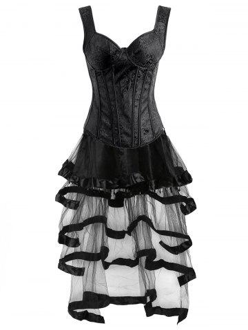Affordable Vintage Push Up Corset Top with Ruffles Skirt BLACK S