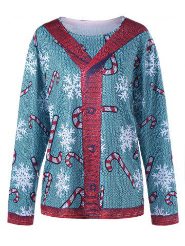 Best Plus Size Long Sleeve Cardigan Illusion Top - XL BLUE GREEN Mobile