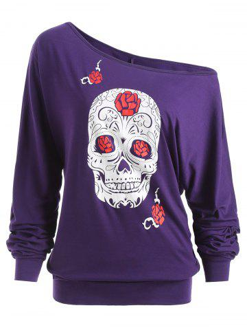 Fancy Halloween Skull Print Plus Size Long Sleeve T-shirt