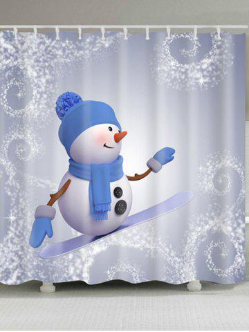 Store Snowman Skateboard Polyester Waterproof Bath Curtain