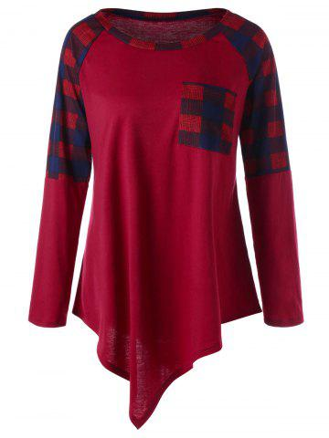 Online Plus Size Raglan Sleeve Plaid Asymmetrical Top WINE RED XL