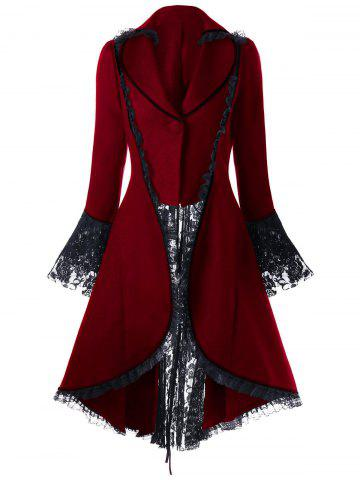 New Lace Insert Lace-up High Low Coat RED 2XL