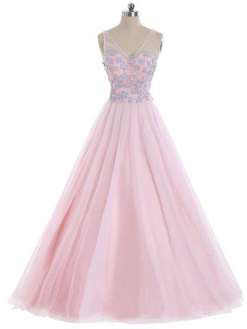 Cheap Mesh Panel Floral Applique V Neck Prom Evening Dress