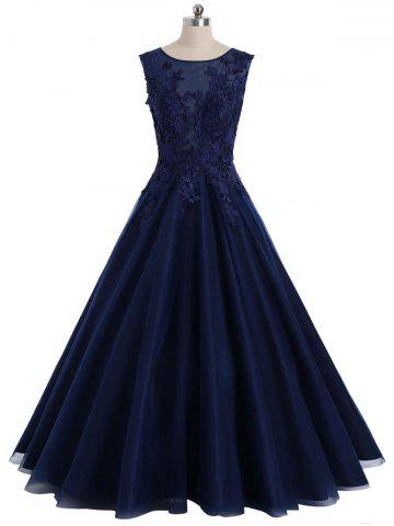 Buy Maxi Floral Applique Sleeveless Prom Evening Dress