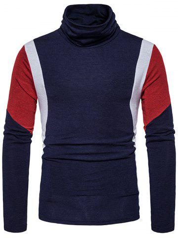 Discount Turtle Neck Color Block Panel Knitted Sweater - S CADETBLUE Mobile