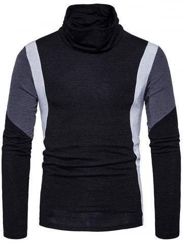 Outfits Turtle Neck Color Block Panel Knitted Sweater - 2XL BLACK Mobile