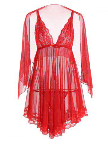 Affordable Mesh Sheer Slip Babydoll - L RED Mobile