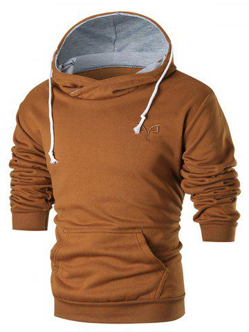 Chest Embroidered Warm Pullover Hoodie