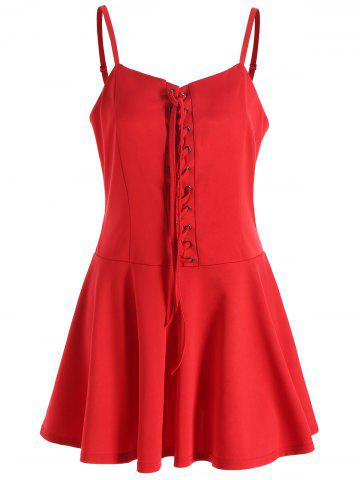Online Christmas Lace-up Cami Dress RED L
