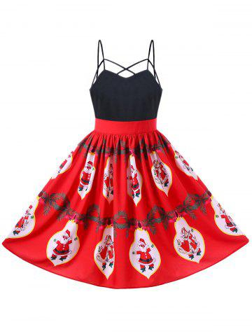 Cheap Christmas Santa Claus Strappy 50s Swing Dress - L RED Mobile