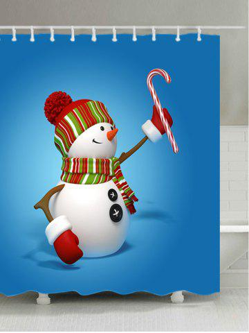 Chic Snowman Candy Cane Print Waterproof Bathroom Shower Curtain