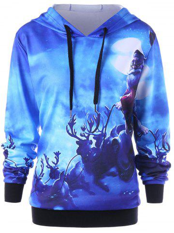 Fashion Christmas Plus Size Reindeer Drawstring Neck Hoodie BLUE XL