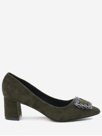 Sale Pointed Toe Rhinestone Chunky Heel Pumps - 36 ARMY GREEN Mobile