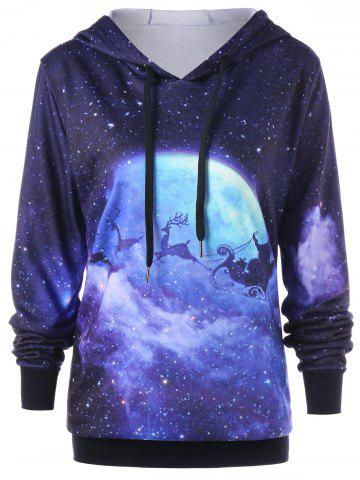 Latest Plus Size Galaxy Reindeer Christmas Hoodie COLORMIX 5XL