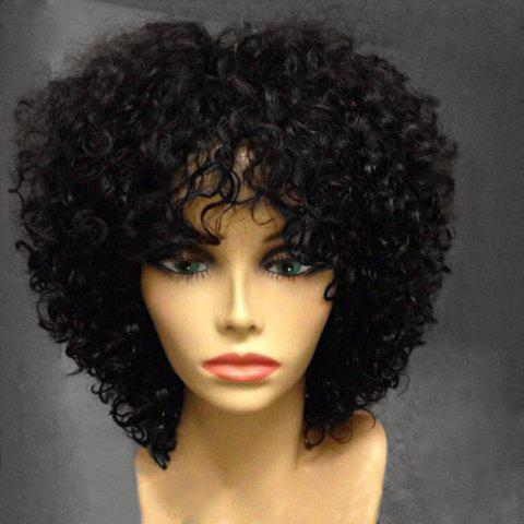 Discount Short Side Bang Fluffy Afro Curly Synthetic Wig