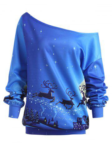 Store Plus Size Christmas Day ELK Skew Neck Sweatshirt - 5XL BLUE Mobile