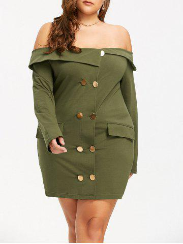Sale Off The Shoulder Double Breasted Plus Size Dress ARMY GREEN XL