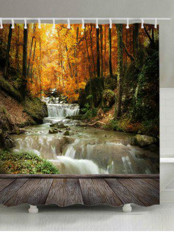 Online Maple Forest Stream Print Waterproof Bathroom Shower Curtain - W71 INCH * L71 INCH YELLOW Mobile