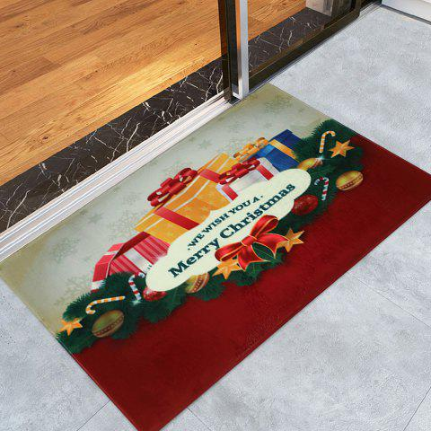 Cheap Christmas Gift Print Nonslip Coral Fleece Bath Mat COLORMIX W16 INCH * L24 INCH