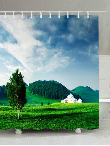 Outfits Grasslands Mountains Print Waterproof Bathroom Shower Curtain - W59 INCH * L71 INCH GREEN Mobile