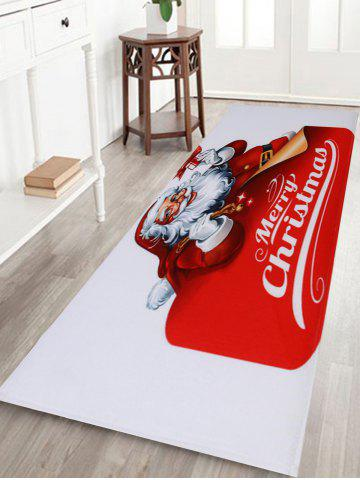 Trendy Santa Claus Coral Fleece Christmas Nonslip Bath Mat - W24 INCH * L71 INCH RED AND WHITE Mobile