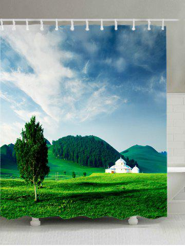 Outfits Grasslands Mountains Print Waterproof Bathroom Shower Curtain