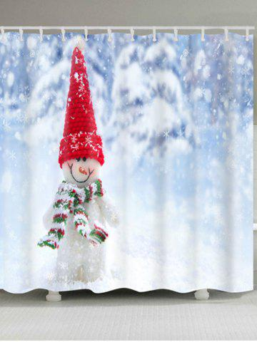 Fashion Snowman Printed Waterproof Polyester Bath Curtain - W71 INCH * L79 INCH COLORMIX Mobile