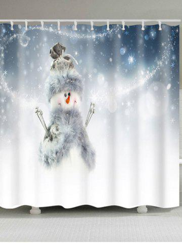 Chic Polyester Waterproof Snowman Printed Shower Curtain WHITE W59 INCH * L71 INCH