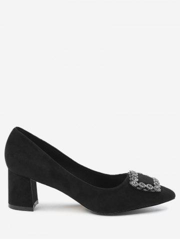 Outfit Pointed Toe Rhinestone Chunky Heel Pumps BLACK 39