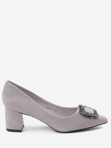 Cheap Pointed Toe Rhinestone Chunky Heel Pumps SUEDE ROSE 39