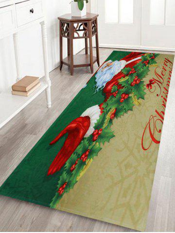 Fancy Santa Claus Print Christmas Antislip Bath Rug - W24 INCH * L71 INCH DEEP GREEN Mobile