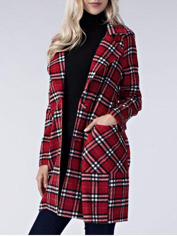 Chic Plaid Lapel Long Coat with Pockets - S RED Mobile