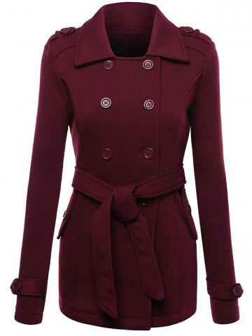 Fancy Belted Double Breasted Wool Blend Trench Coat - M WINE RED Mobile