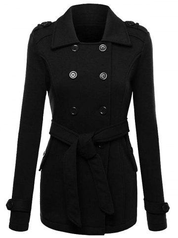 Trendy Belted Double Breasted Wool Blend Trench Coat - 2XL BLACK Mobile