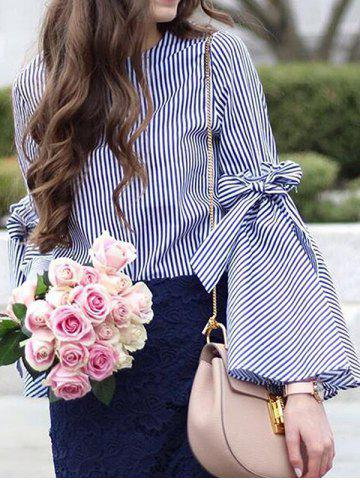 Fancy Slit Flare Sleeve Striped Shirt