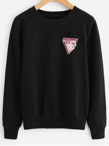 Fancy Flamingo Letter Print Sweatshirt - S BLACK Mobile