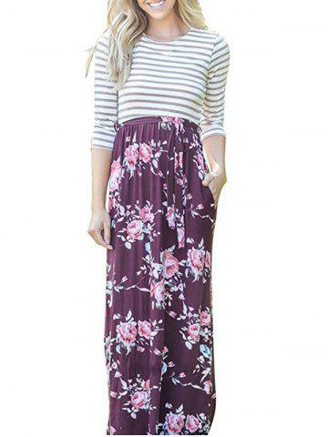 Chic Floral Striped Long Dress - XL FLORAL Mobile