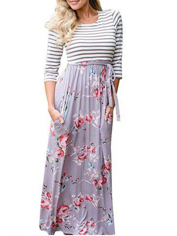 Latest Maxi Striped Floral Dress FLORAL XL