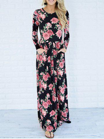 Cheap Long Sleeve Maxi Printed Dress with Pockets BLACK M